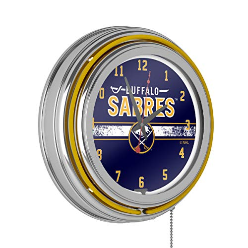 Trademark Gameroom NHL Chrome Double Rung Neon Clock - Buffalo Sabres