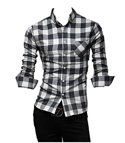 AQ Mens Clothes Clothing Fashion Apparel Plaid Buttoned Shirt