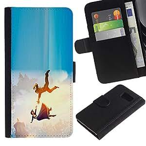"""A-type (La caída de la princesa de dibujos animados"""") Colorida Impresión Funda Cuero Monedero Caja Bolsa Cubierta Caja Piel Card Slots Para Samsung Galaxy S6"""