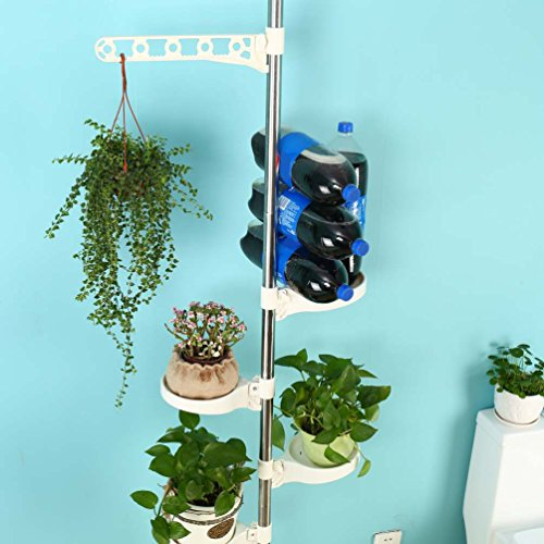 Baoyouni 5-Tier Tension Rod Plant Holder Pole, Flower Display Stand Rack Stainless Steel Decorative Shelf, Ivory by BAOYOUNI (Image #6)