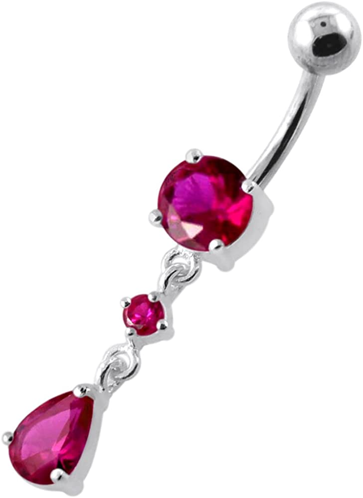 Silver dangle drop belly button ring with CZ crystal