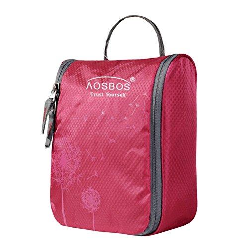 Aosbos Hanging Toiletry Bag Portable Travel Cosmetic Makeup Organizer Bag for Women Men (Red)