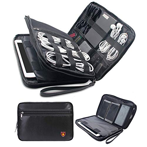 MDROKUN Fireproof Electronics Organizer,Double Layer for sale  Delivered anywhere in USA