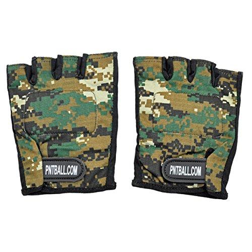 3Skull Paintball Half Finger Gloves Woodland Digi Camo - XL