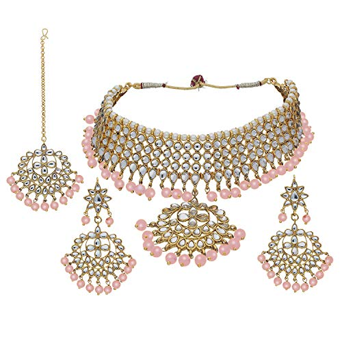 Aheli Indian Traditional Maang Tikka with Kundan Necklace Earrings Set Ethnic Wedding Party Designer Jewelry for Women (Peach)