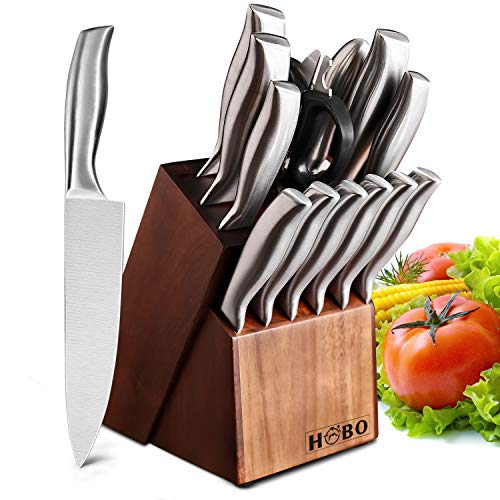 HOBO Knife Set, 14-Piece German Professional Chef Knife Set with Wooden Block,...