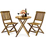 Best Choice Products 3-Piece Folding Acacia Wood Patio Bistro Set (Brown)