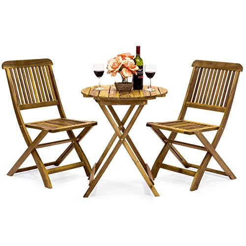 Best Choice Products 3-Piece Acacia Wood Folding Patio Bistro Set for Backyard, Balcony, Porch, Deck with 2 Chairs, Round Coffee Table, Natural (Chairs Bistro Table Cheap And)