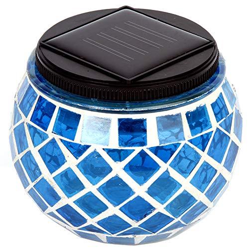 Romantic Mosaic Glass Ball Light,Solar Table Light Led Jar Night Light,Outdoor/Indoor Waterproof Decorative for Home Patio Garden Christmas(Blue) by YOEDAF