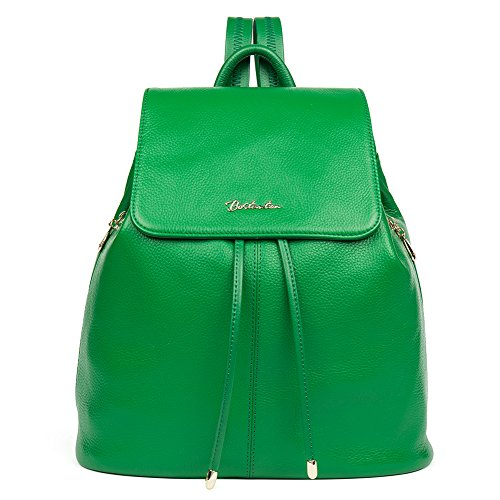 College Purse Backpack Shoulder Bostanten Rucksack Bag Leather Newblue Women Ladies Casual Darkgreen Handbags School 08WZEPqwa