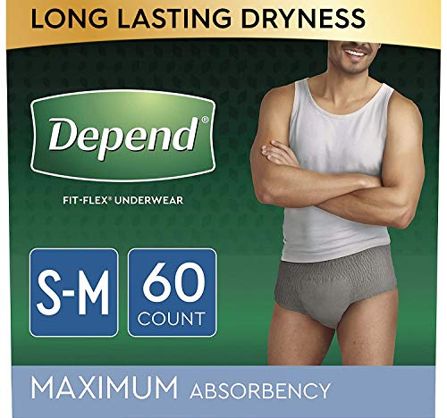 FIT-Flex Incontinence Underwear for Men, Maximum Absorbency, Disposable, Small/Medium, Grey, (Packaging May Vary)
