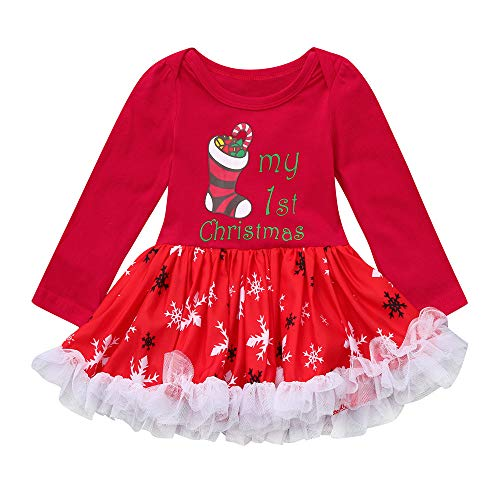Price comparison product image Willsa Baby Outfits,  Newborn Infant Girls Christmas Letter Printing Tutu Tulle Dresses Romper Outfits