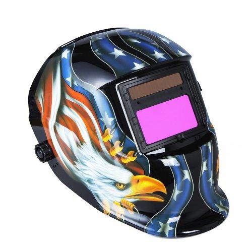 Andoer Clearvision Welding Helmet Solar Powered Automatic/ Solar- Auto Verdunkelung Schweißhelme Schweißmaske Arc Tig Mig Schleifen Adler (Schwarz)