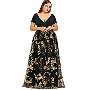 Langstar Women's Plus Size Short Sleeve V-Neck Floral Sequined Maxi Prom Dress