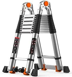 XEWNEG Escalera Telescópica, Escalera Multifuncional De La Escalera del A-Marco De La Aleación De Aluminio, Escaleras Plegables Al Aire Libre Caseras Portátiles (Size : 3+3M=6M(19.7FT)): Amazon.es: Hogar