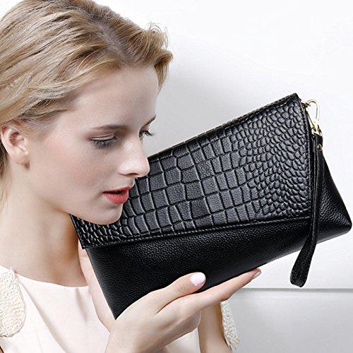 de Bolso Messenger Nuevo Bag Embrague Bag hombro femenino Sobre bolsos Black Embrague Evening cuero fdCnCq