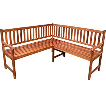 SKB Family Garden Corner Bench Acacia Wood Outdoor Patio Park Seat