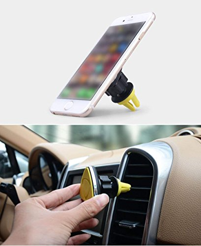Magnetic Car Holder for Centre Ventilator Grille, Universal Air Vent Car Mount Stand 360 Rotation Cellphone Car Holder Cradle for Any Phones and Tablets(Yellow) (Yellow)