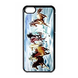 LJF phone case Hard back shell with War Horse and moon logo for iphone 4/4s