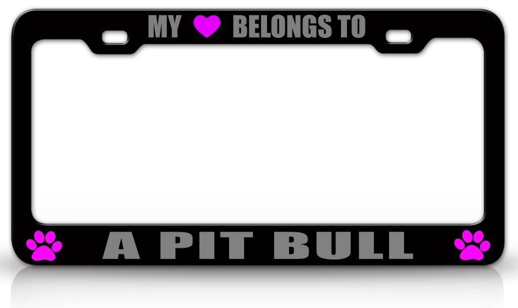 Mein Herz gehört für Pit Bull, Hunde-Metall-Nummernschild-Rahmen mit ...