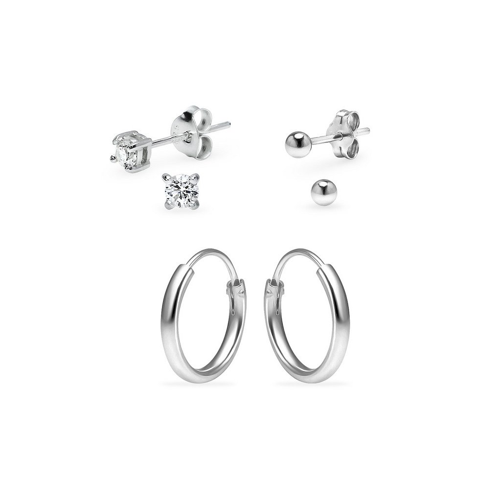 Three Pairs Sterling Silver 10mm Endless Hoops 3mm Round CZ & 3mm Ball Stud Unisex Cartilage Earrings Set