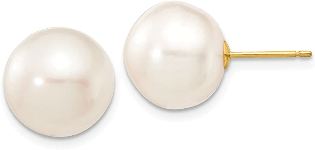 14K Yellow Gold 12Mm White Button Freshwater Cultured Pearl Stud Post Earrings Ball Fine Jewelry für Women Gifts für Her