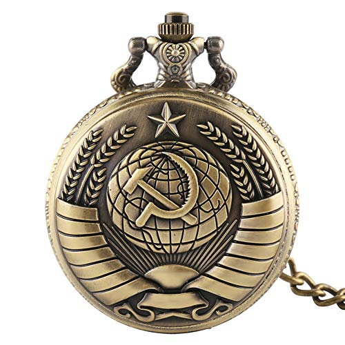 Pocket Watches Bronze Russia Soviet Sickle Hammer Quartz Pocket Watch Chain Pendant Clock for Mens Womens Birthday Gifts