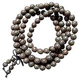 Bead Bracelet, 108 Natural Wood 8mm Beads Bracelet Buddhist Rosary Mala Necklace Bracelet (Brown)