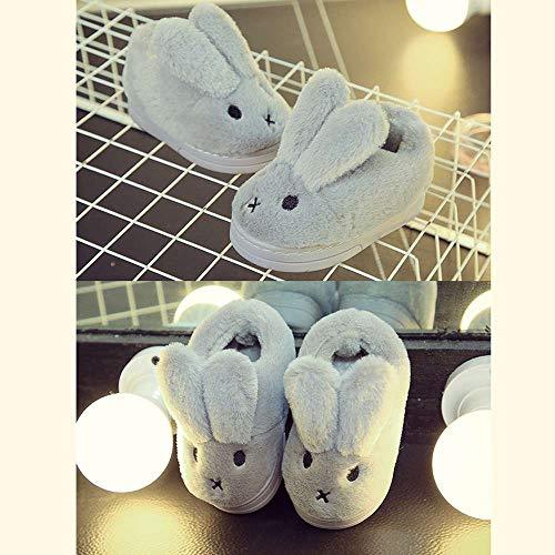 Fur Bootie Cute Winter Bunny Girls' 5 Grey Slipper Toddler Kids Outdoor Baby Indoor nxwX6vRf0q