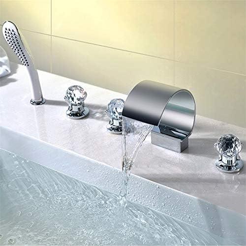 ハンドヘルド5つのピースバスルームのシンクの蛇口デッキマウント三つの結晶は、5つの穴の滝現代商業鉛フリークローム仕上げのシャワーを処理します