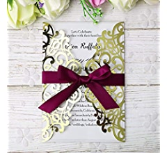 Amazon.com: PONATIA - 25 tarjetas de invitación para boda o ...