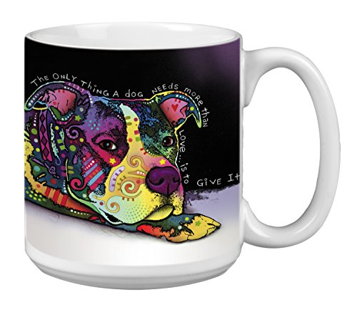 Pit Bull Dog Extra Large Mug, 20-Ounce Jumbo Ceramic Coffee Cup, Sweet Boy Themed Dean Russo Pet - Gift for Puppy Lovers (XM63200) Tree-Free Greetings