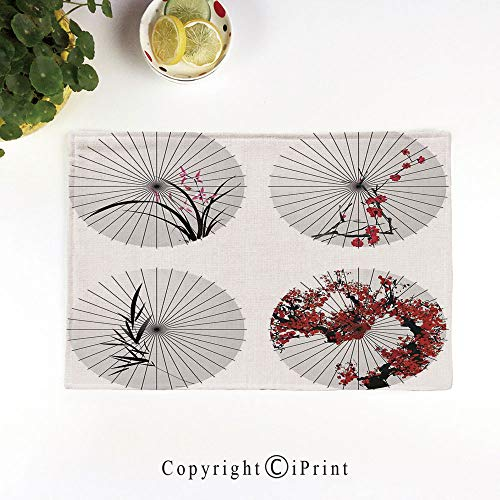 Parasol Handcrafted - LIFEDZYLJH Machine Washable Placemats - Handcrafted with Classic Hemstitch & Mitered Corners,Group of Ethnic Parasol with Swirled Floral Lines and Bamboo Leaves Print,Red White