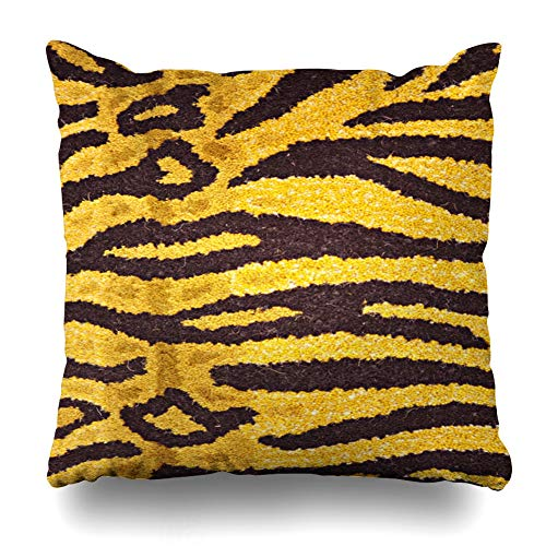 (Kutita Decorativepillows Covers 18 x 18 inch Throw Pillow Covers, Close Up of Carpet Having Print of Tiger Skin Pattern Double-Sided Decorative Home Decor Pillowcase)