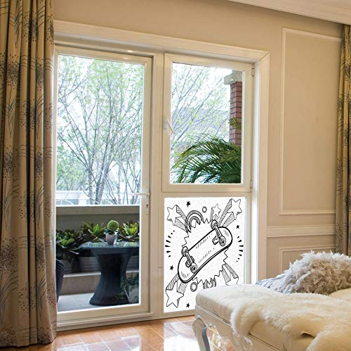 - C COABALLA Decorative Privacy Window Film,Doodle,for Fome Bedroom Kitchen Office,Sketch of a Skateboard with Sixties and Seventies,17''x24''
