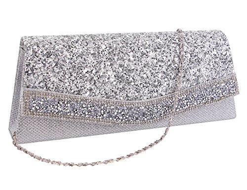 Gabrine Womens Evening Shoulder Bag Handbag Clutch Purse Shiny Sequins Rhinestone for Wedding Prom Party(Silver) by Gabrine