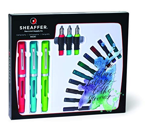 Sheaffer Viewpoint Calligraphy Maxi Kit: 3 Fountain Pens with 3 Nibs, 20 Assorted Ink Cartridges, Instructions, and Tracing Pad