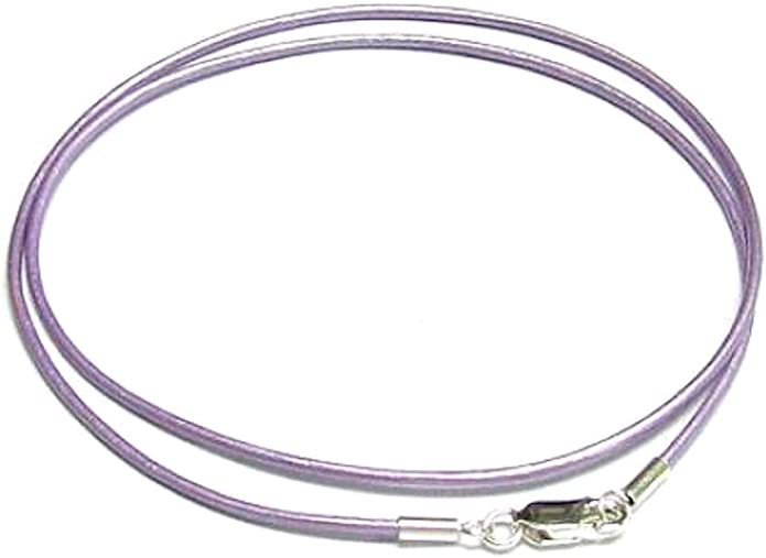 """2mm Lilac Grey Leather /& Sterling Silver Necklace Or Wristband 16/"""" 18/"""" 20/"""" etc"""