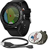 Garmin BUNDLE Approach S60 Golf GPS Sports Smart Watch, Comes with a Charging Cable and Custom Ball Marker Hat Clip Set (American Eagle), Black with Black Silicone Band Review