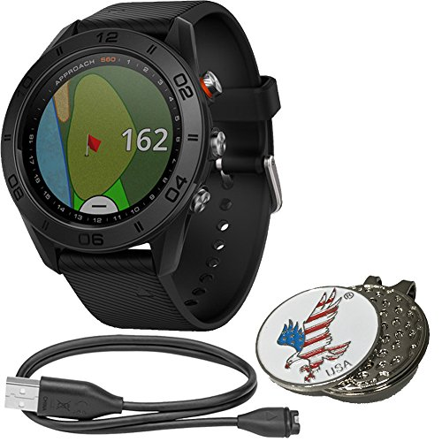 Garmin Approach S60 Bundle Golf GPS Sports Watch Includes USB Charging Data Cable, Special Designed Custom Golf Ball Mark Hat Clip Set