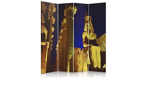 feeby Frames, biombo interior, biombo lienzo, biombo Déco, barrera de separación, biombo, 3 o 4 paneles columnas, Estatua, Egipto, murales, símbolos, Monumentos, marrón, 1 face 145x150 cm: Amazon.es: Hogar