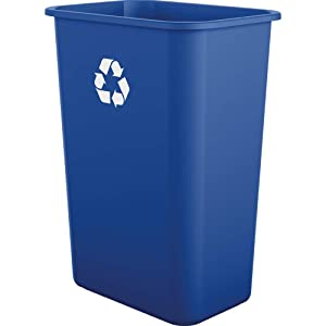 AmazonBasics 10 Gallon Plastic Commercial Waste Basket, Recycling, Blue, 4-Pack