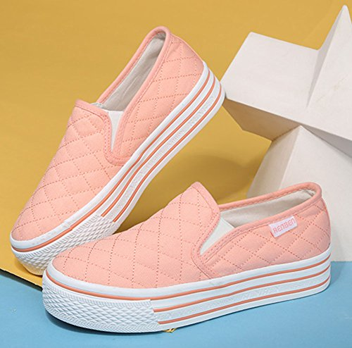 Sfnld Womens Fall Spring Platform Slip On Loafers Shoes Sneaker Pink HHDm7