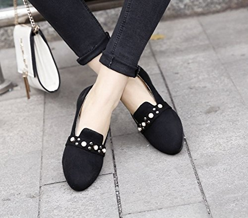 Charm Foot Womens Comfort Vintage Style Studded Loafer Flats Black kpoew