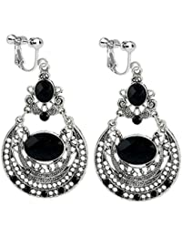Clip on Earrings Vintage Hollow Waterdrop Tassels Dangle Rhinestone Black Ancient Silver Plated