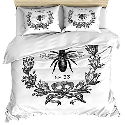 Anzona Luxury 3 Piece Bedding Set King Size, Rue Lafayette Bee 3PCS Zippered Microfiber Duvet Cover Comforter Cover Set Includes Quilt Cover, Pillow Cases for -