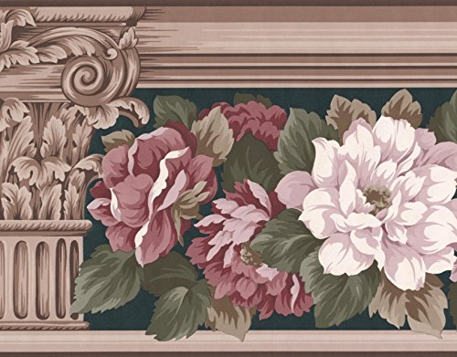 White Pink Roses Floral Wallpaper Border Retro Design, Roll 15' x 8.75''
