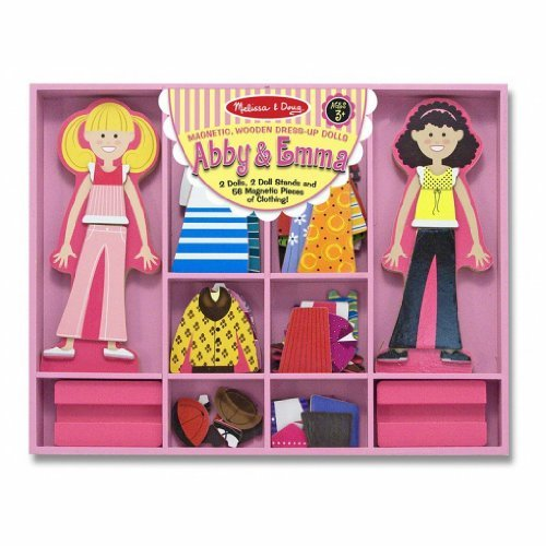 Melissa & Doug Abby & Emma - Magnetic Dress Up Wooden Doll & Stand & 1 Scratch Art Mini-Pad Bundle (04940) by Melissa & Doug