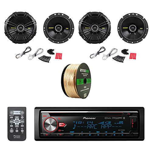 Pioneer CD Bluetooth Receiver W/Enhanced Audio Functions with Kicker 6-3/4 Inch CS-Series Black Car Coaxial Speakers 2-Pairs & Enrock Audio 14 AWG Gauge 50 Feet Speaker Wire-CCA Copper Clad Aluminum