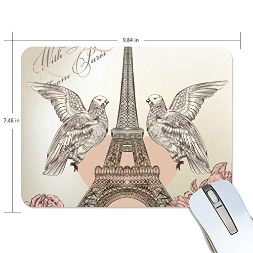 Mouse Pads,Double Eagle Red Heart Eiffel Tower Premium Textured Mouse Mat Pad, Non Slip Rubber Base Mousepad for Gaming,Computer,Laptop